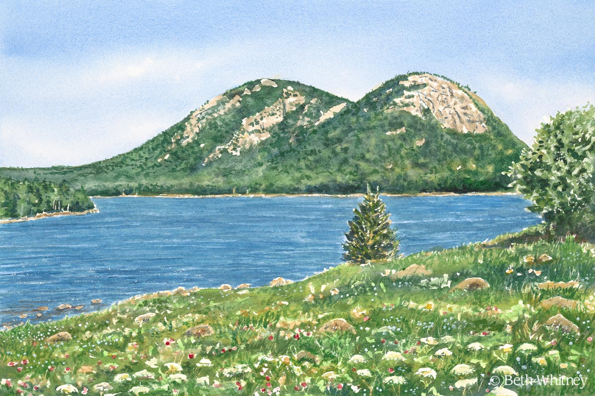 Jordan Pond from North Bubble, an original Maine watercolor painting by Beth Whitney