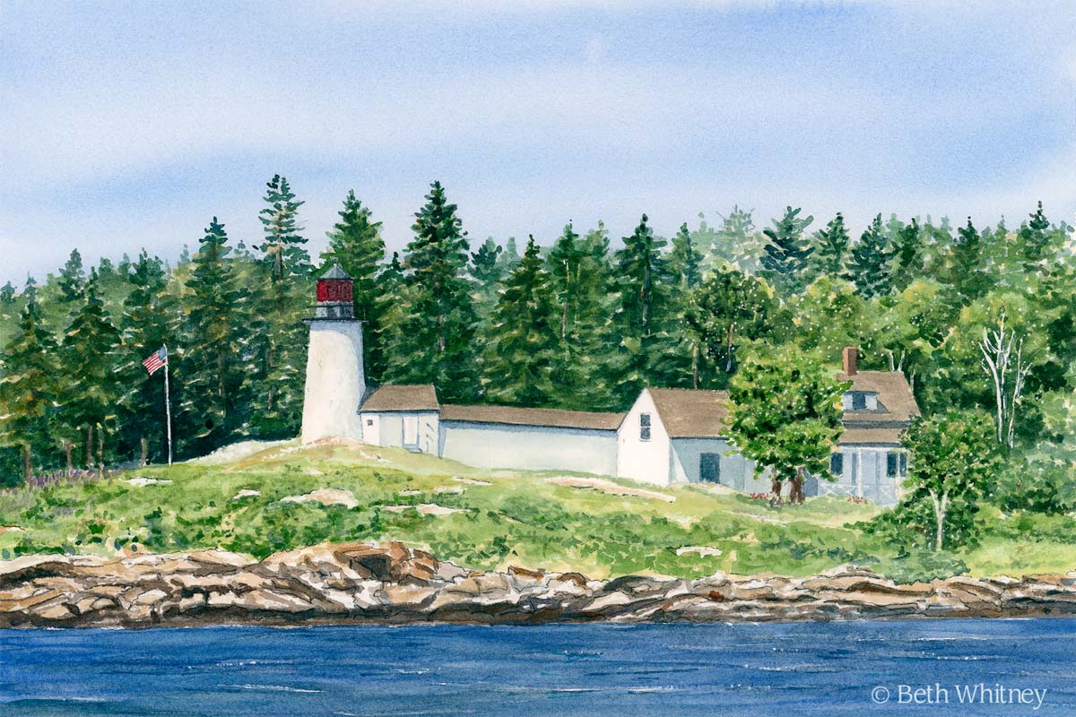 Painting of Burnt Island Lighthouse in Boothbay Harbor, Maine by artist Beth Whitney   DowneastWatercolors.com