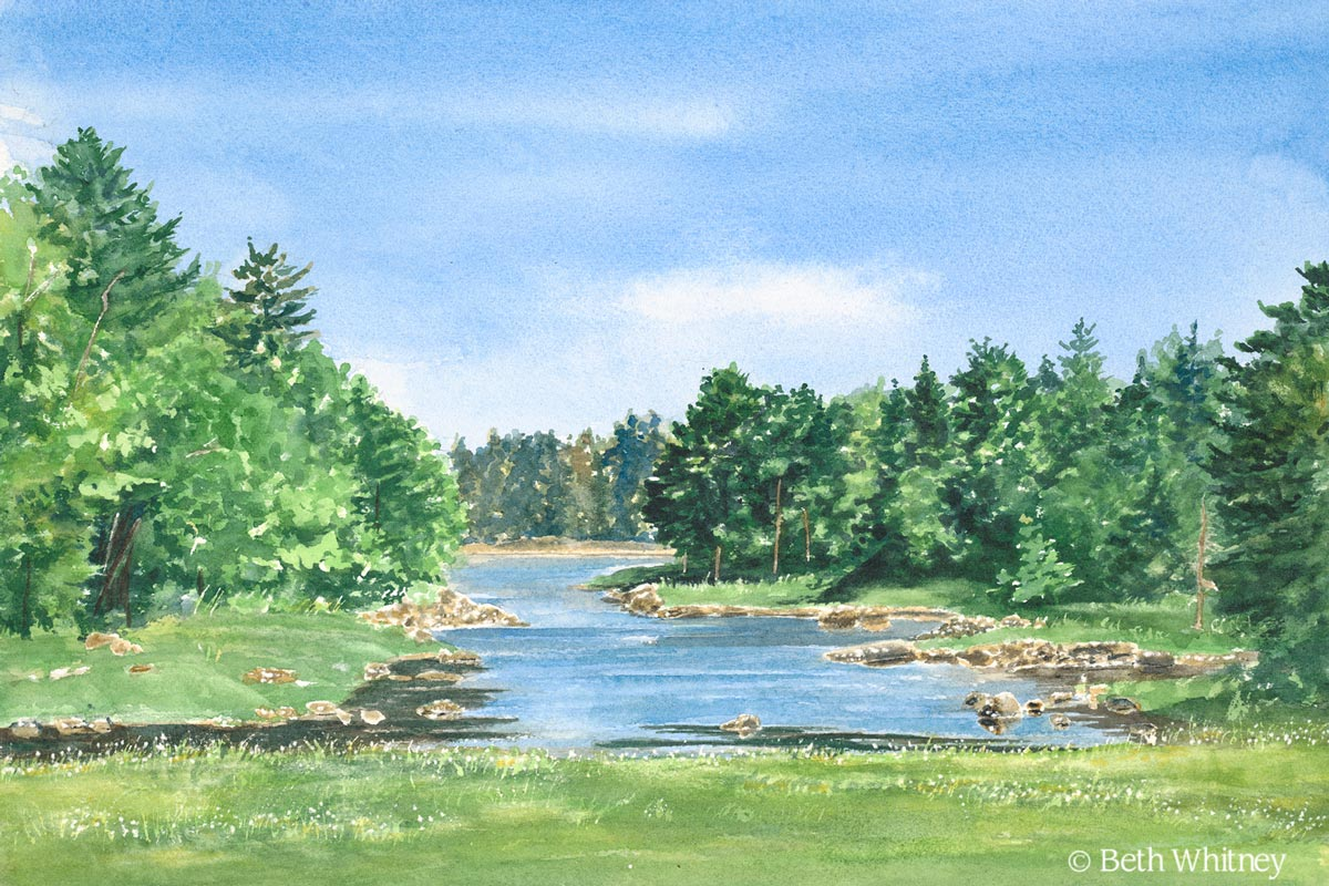 Painting of The Carrying Place in Brooklin, Maine by artist Beth Whitney | DowneastWatercolors.com