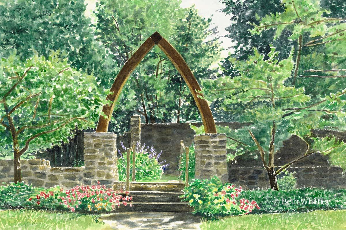 Children\'s Chapel Garden in Rockport, Maine Art   Downeast Watercolors