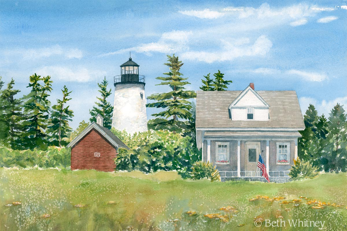 Painting of Dice Head Lighthouse in Castine, Maine by Beth Whitney | DowneastWatercolors.com