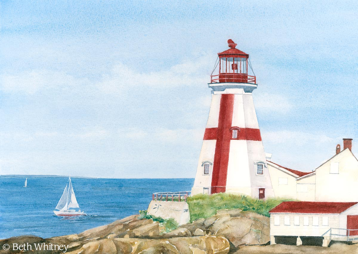 Painting of East Quoddy Light on Campobello Island, New Brunswick by Beth Whitney   DowneastWatercolors.com