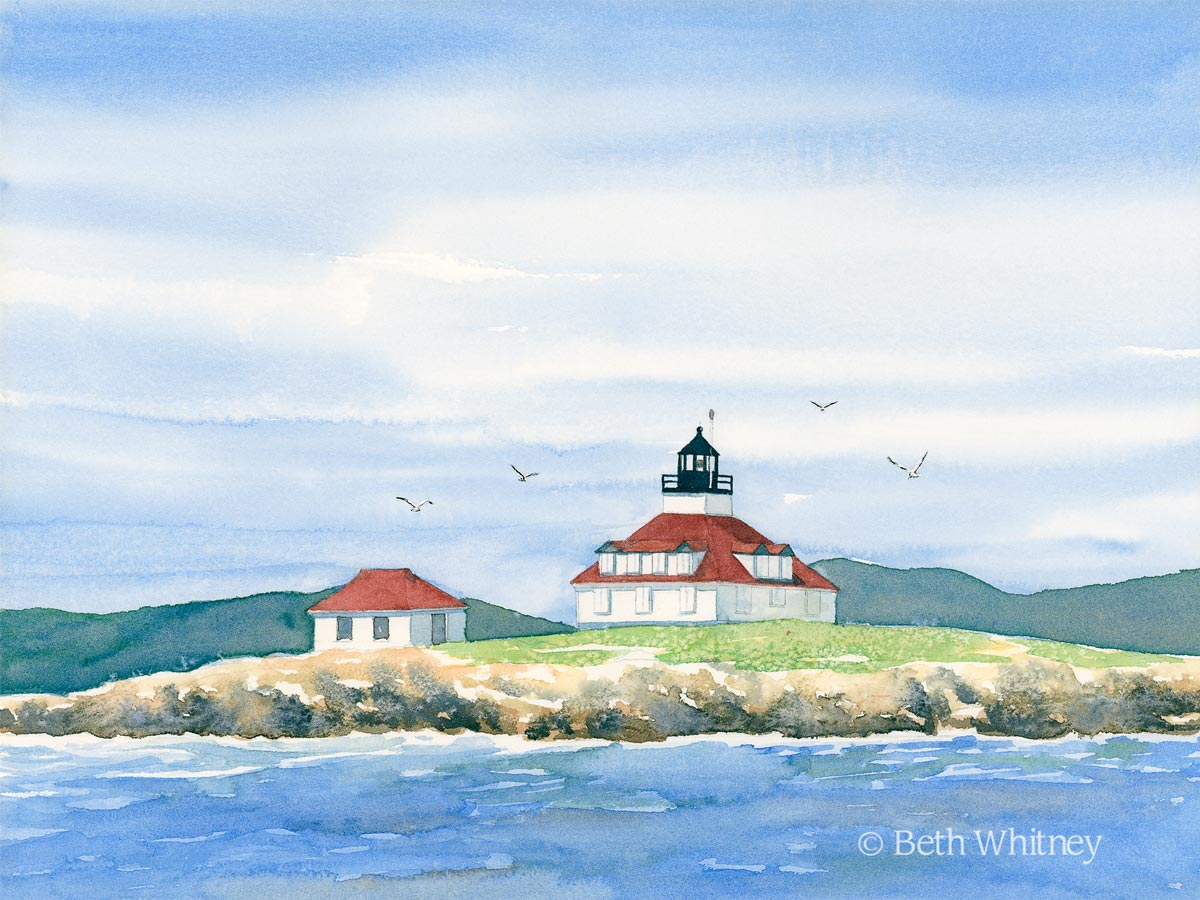 Egg Rock Light, an original watercolor painting by Beth Whitney