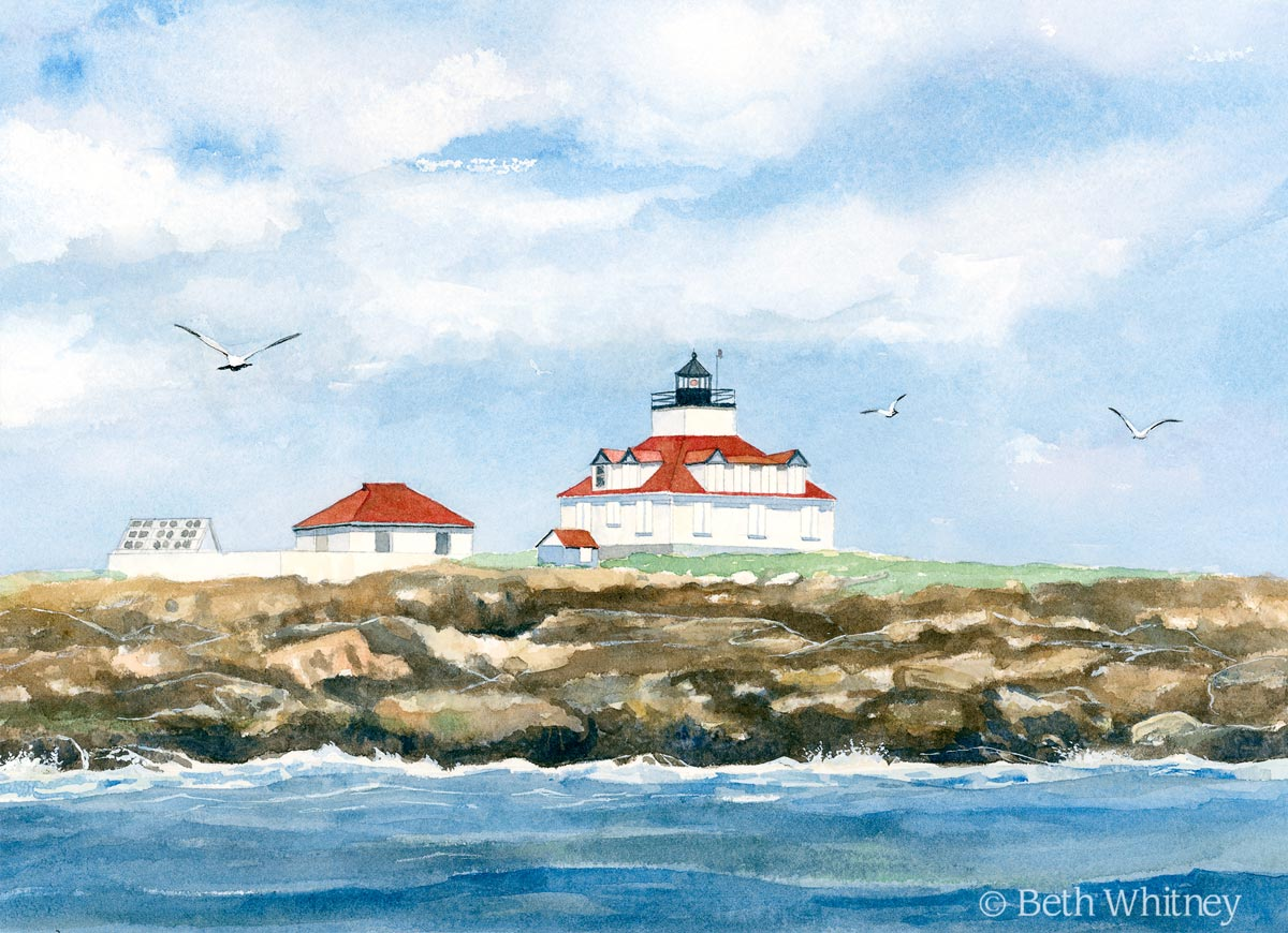 Watercolor painting of Egg Rock Lighthouse in Frenchman's Bay by artist Beth Whitney   DowneastWatercolors.com