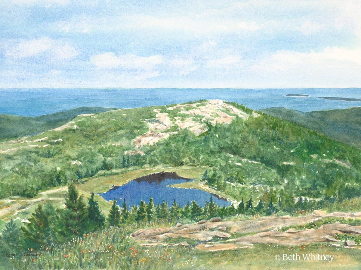 """Painting of """"The Featherbed,"""" a glacial pond on Cadillac Mountain in Acadia National Park by Beth Whitney. 