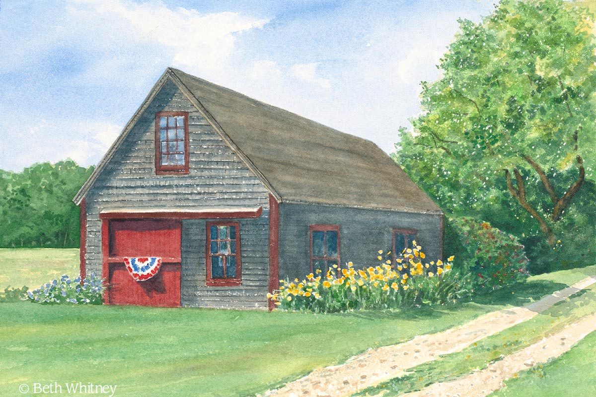 Painting of Friendship Barn with yellow flowers and patriotic banner by Beth Whitney | DowneastWatercolors.com