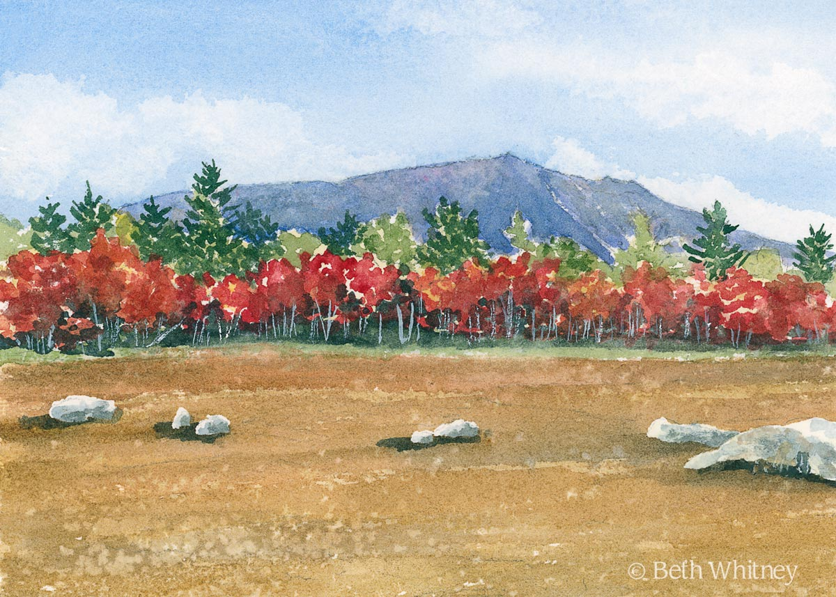 Watercolor painting of Mt Katahdin in Fall by artist Beth Whitney   Downeast Watercolors