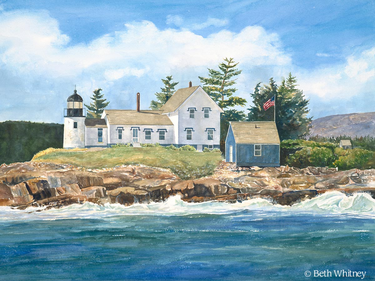 Watercolor painting of Mark Island Light in Winter Harbor, Maine