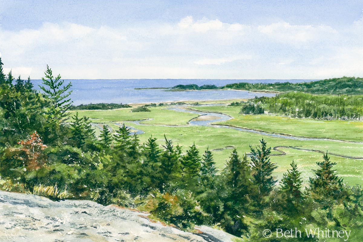 Watercolor painting of Morse Mountain & Seawall Beach in Maine by artist Beth Whitney | Downeast Watercolors