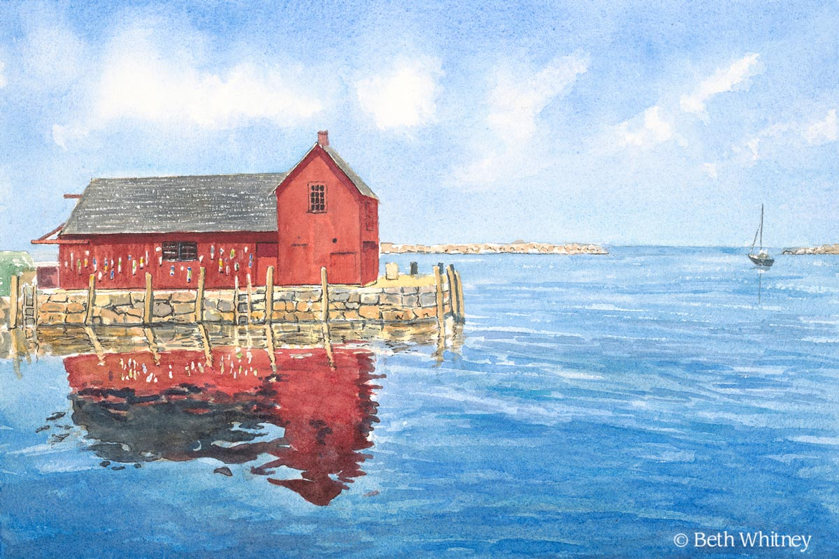 Painting of Motif No 1 Reflections in Rockport, Massachusetts by artist Beth Whitney | DowneastWatercolors.com