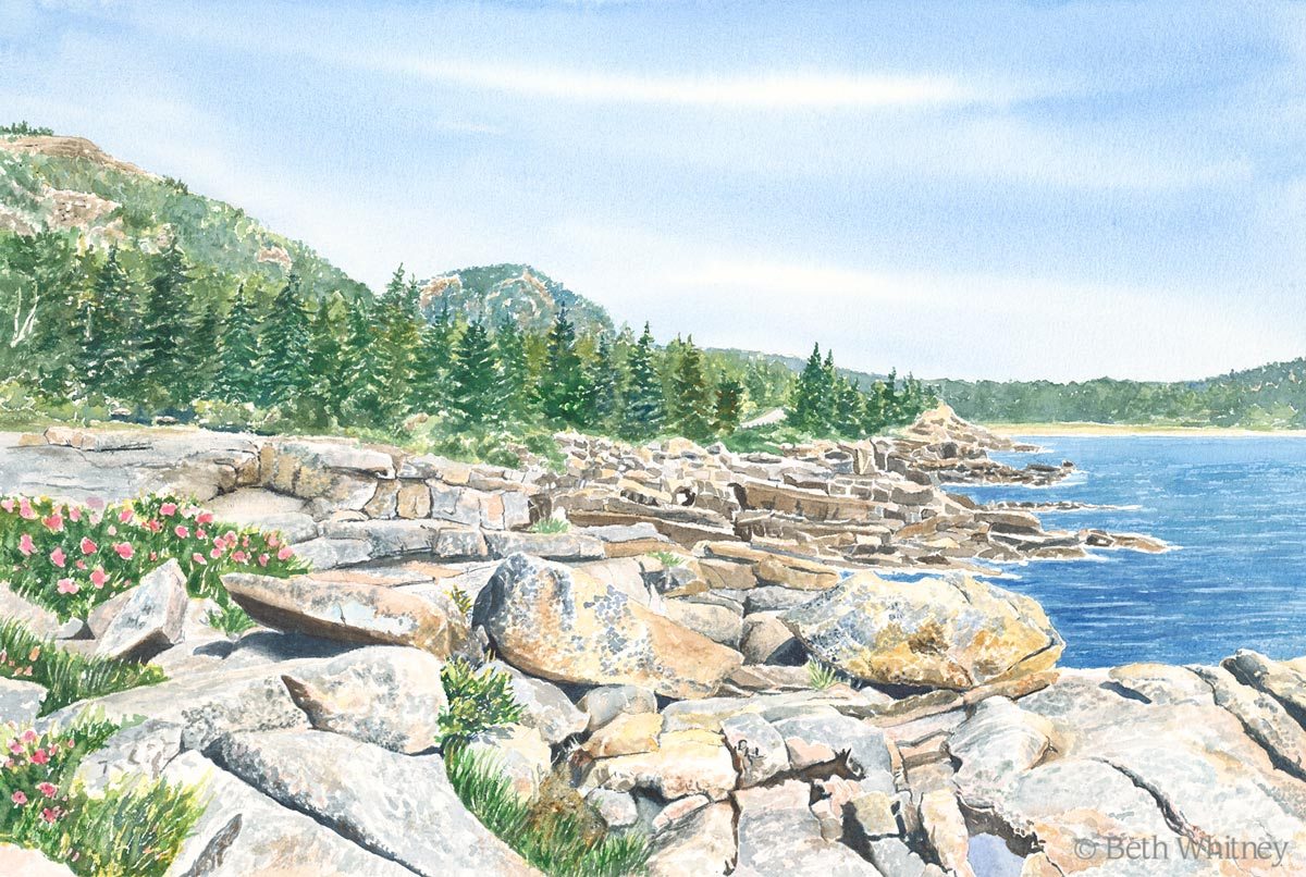 "Original painting of ""Ocean Drive"" in Acadia National Park, Maine by artist Beth Whitney 