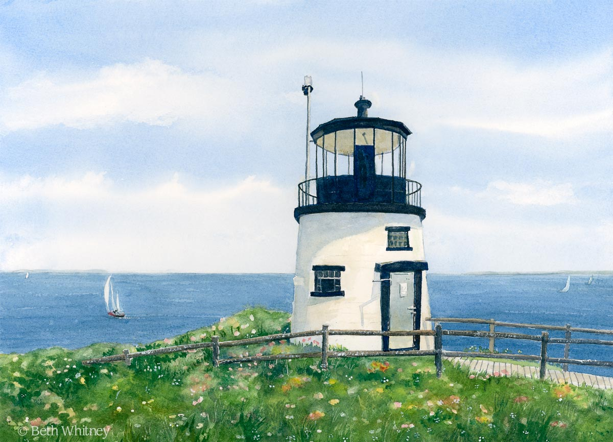 Painting of Owls Head Lighthouse by Beth Whitney | DowneastWatercolors.com