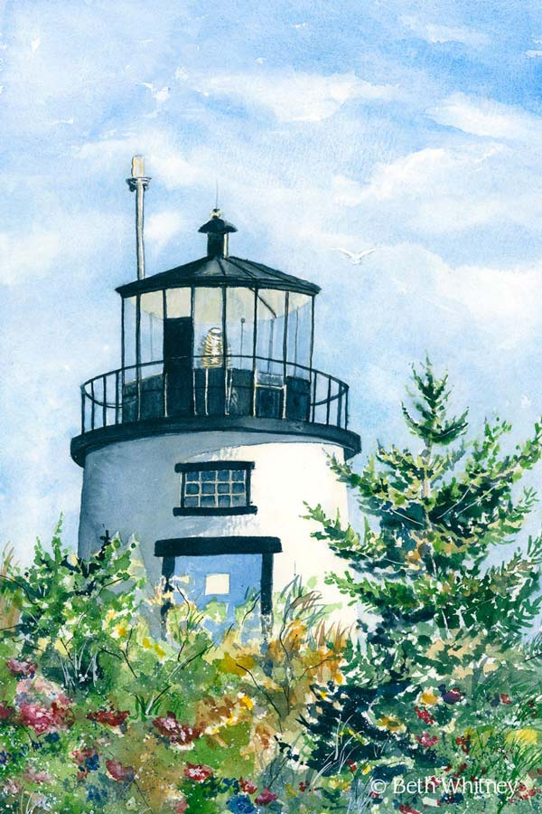 Painting of Owls Head Light in late summer by Beth Whitney