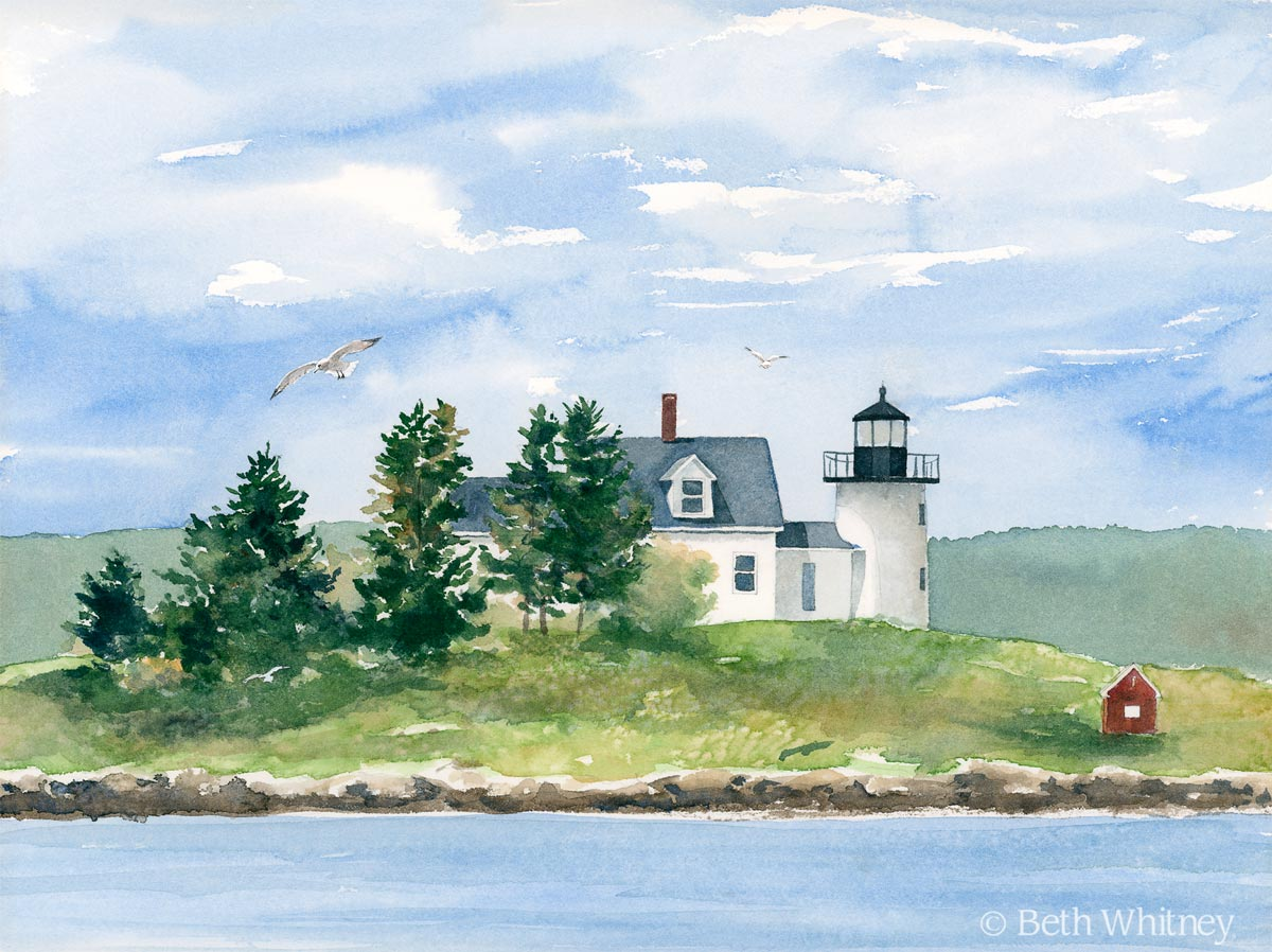 Watercolor painting of Pumpkin Island Light on Little Deer Isle, Maine by artist Beth Whitney | DowneastWatercolors.com