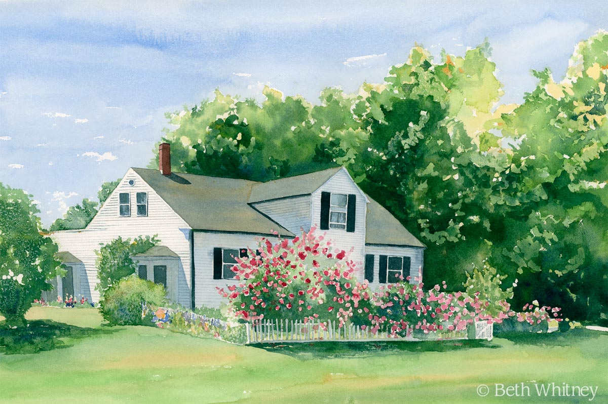 Watercolor painting of Rosebriar cottage, a white house with pink roses and white picket fenceby artist Beth Whitney | DowneastWatercolors.com