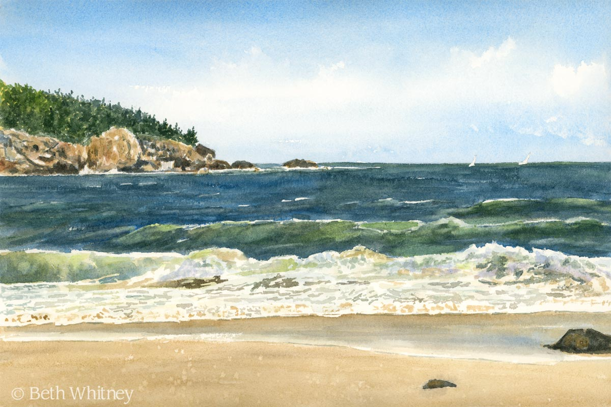 Watercolor painting of Sand Beach in Acadia National Park, Maine by Beth Whitney   Downeast Watercolors