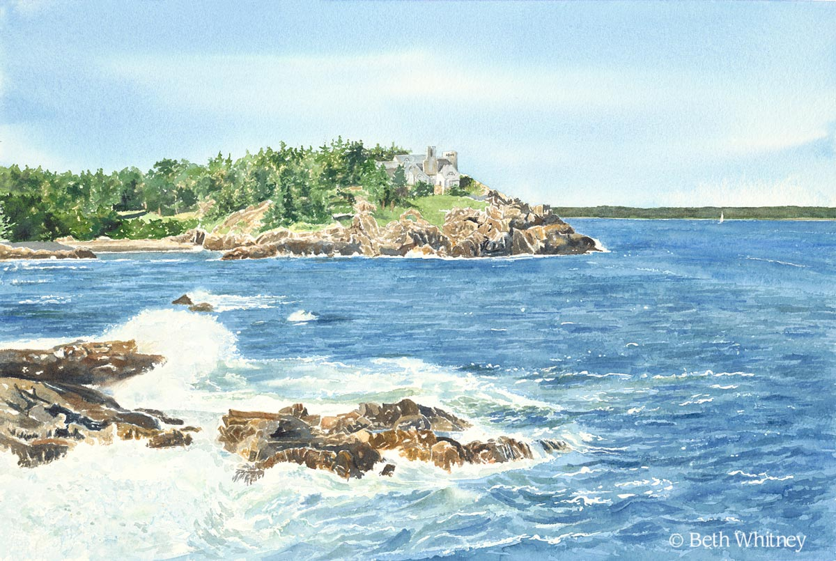 """""""Schooner Head, Acadia"""" a matted giclee print from an original watercolor painting by Beth Whitney 