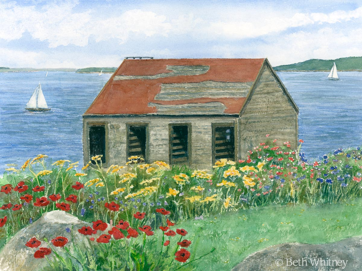 Original painting of a shed by the sea in downeast Maine by artist Beth Whitney | DowneastWatercolors.com