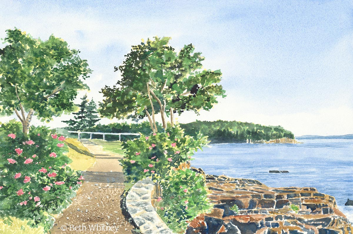 Painting of Shore Path in Bar Harbor, Maine by artist Beth Whitney | DowneastWatercolors.com