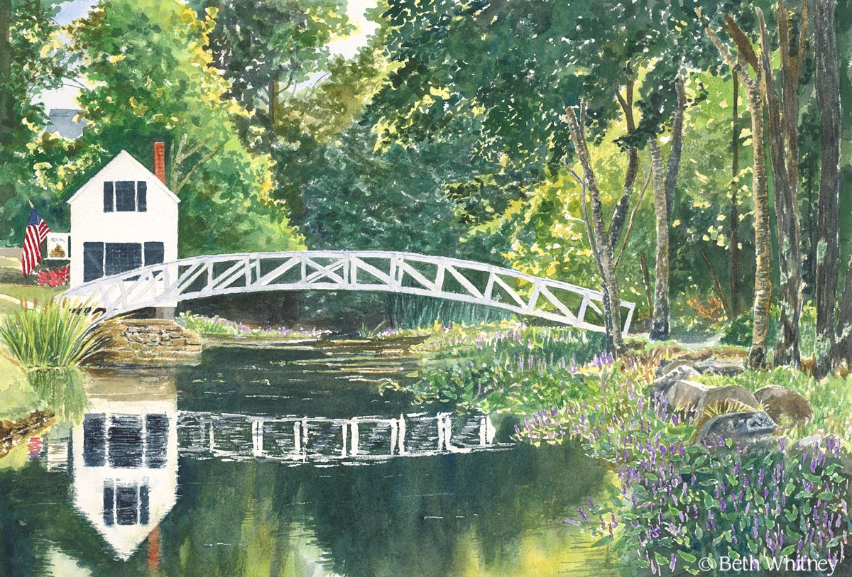 Somesville Bridge painting by Beth Whitney | DowneastWatercolors.com