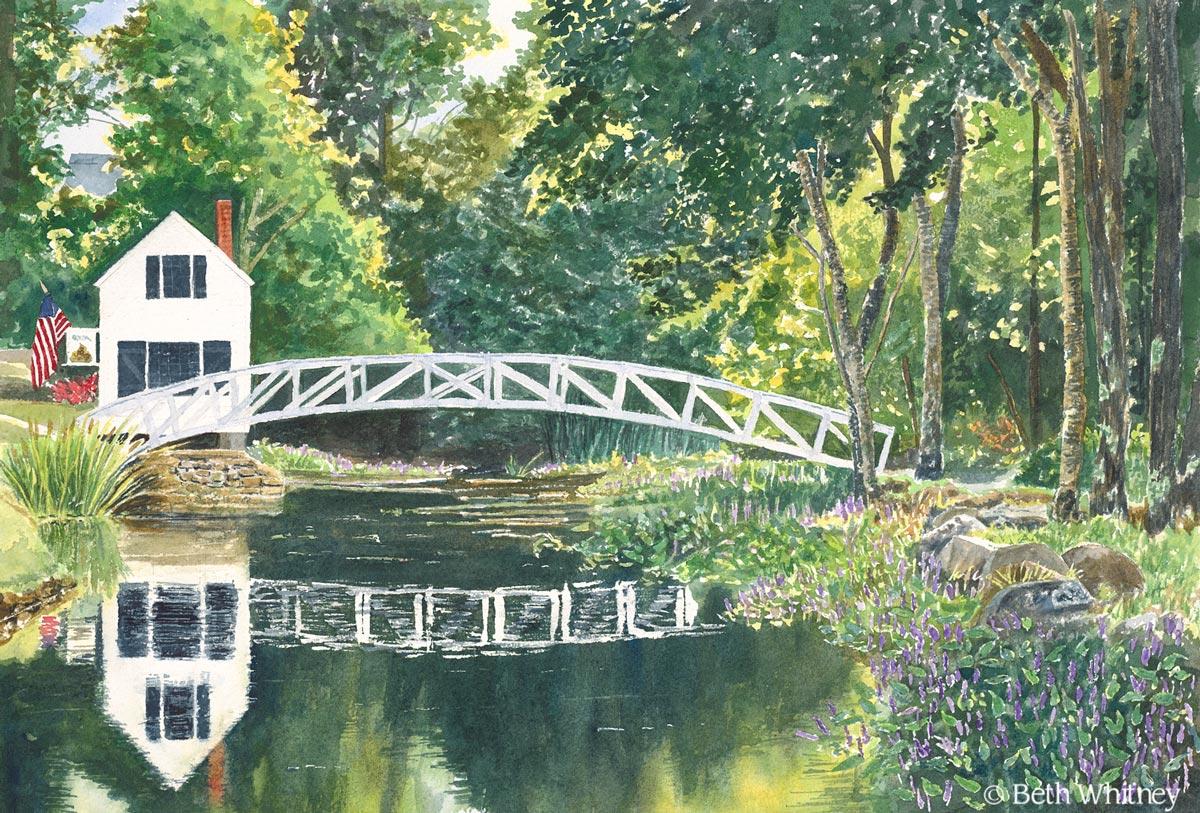 Somesville Bridge painting matted