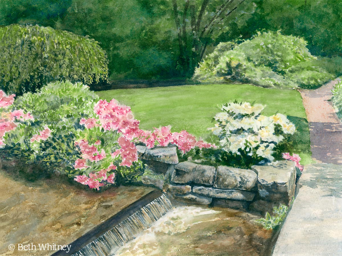 """Spring's Promise,"" original painting of the Asticou Azalea Garden's bridge and flowers by Beth Whitney 