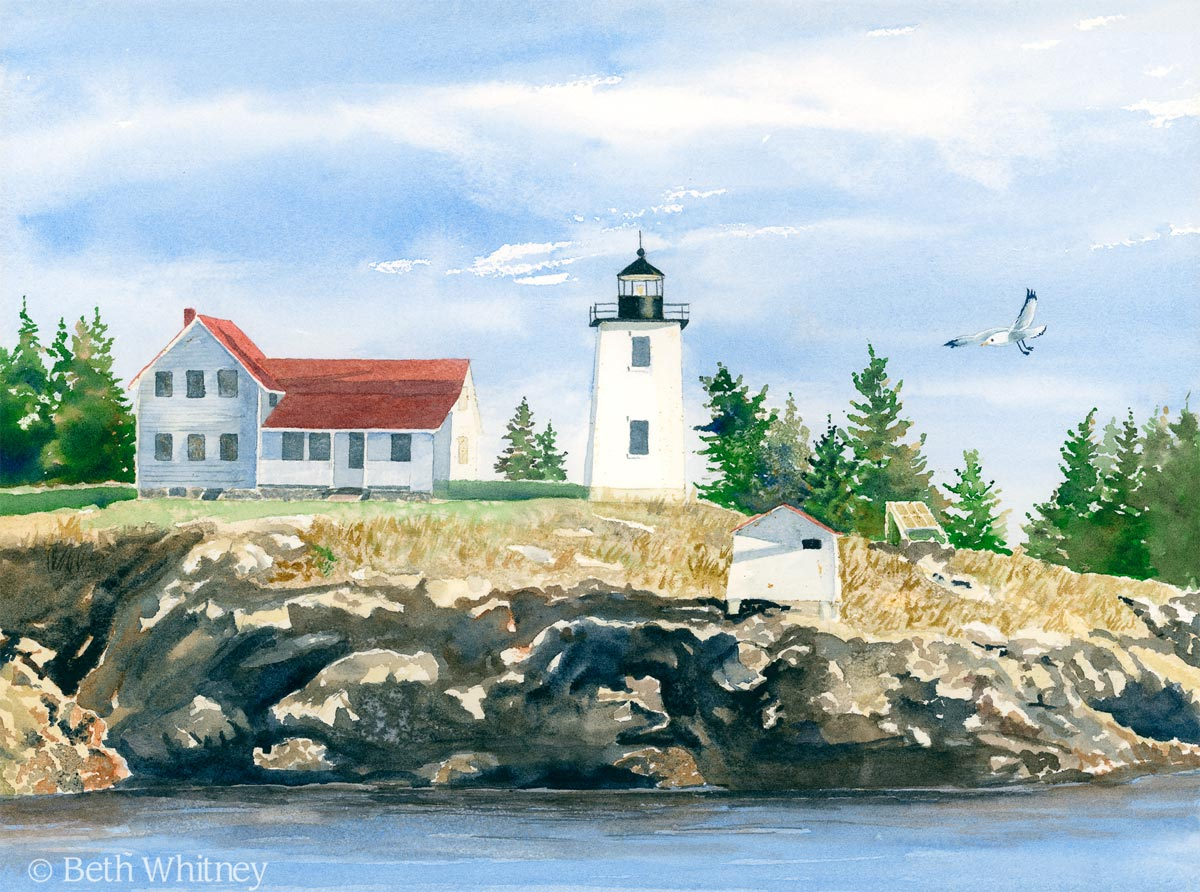 Watercolor painting of the Swans Island Lighthouse, aka Hockamock Head Light, by artist Beth Whitney   DowneastWatercolors.com