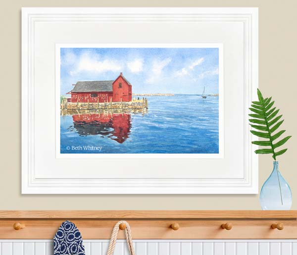 Watercolor painting of Motif No 1 in Rockport, MA