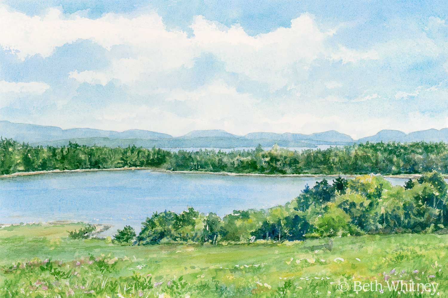 Watercolor painting of Great Head and Sand Beach in Acadia National Park Maine by artist Beth Whitney | Downeast Watercolors