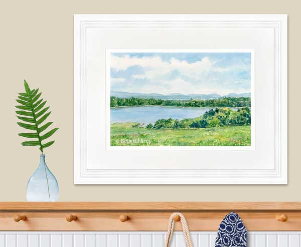 Framed painting of Morgan Bay by Beth Whitney