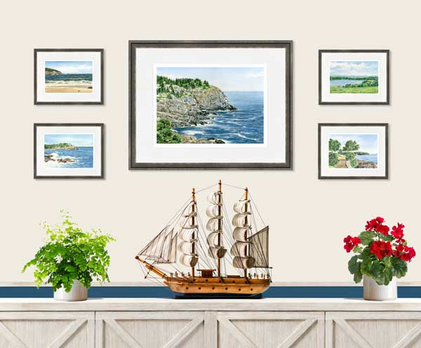 Framed print of Lupine On Cape Rosier painting by Beth Whitney