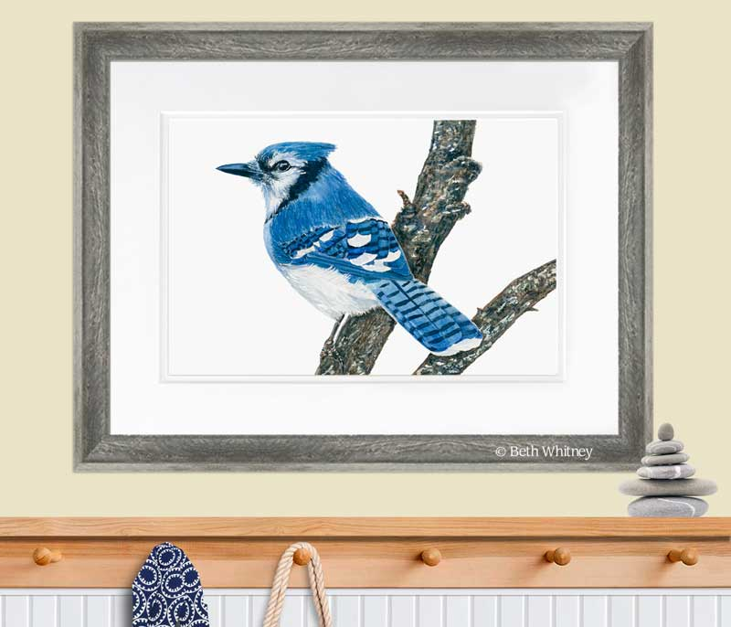 Painting of a Blue Jay bird a tree