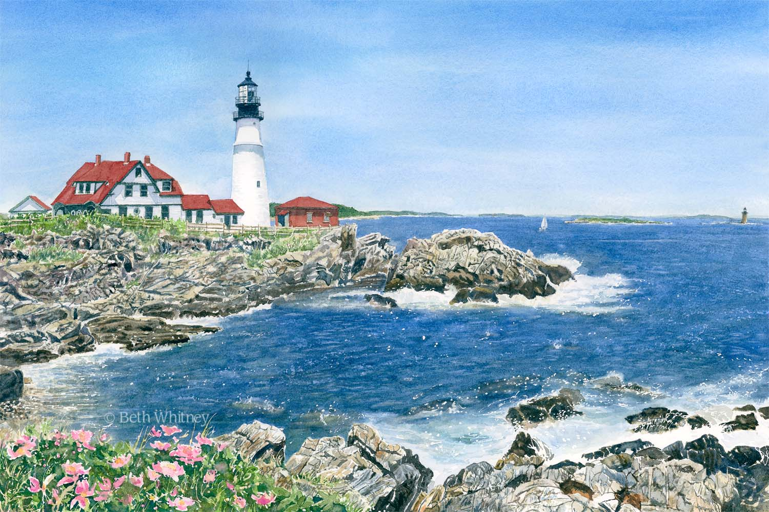 Watercolor painting of Portland Head Lighthouse and ocean surf by Beth Whitney