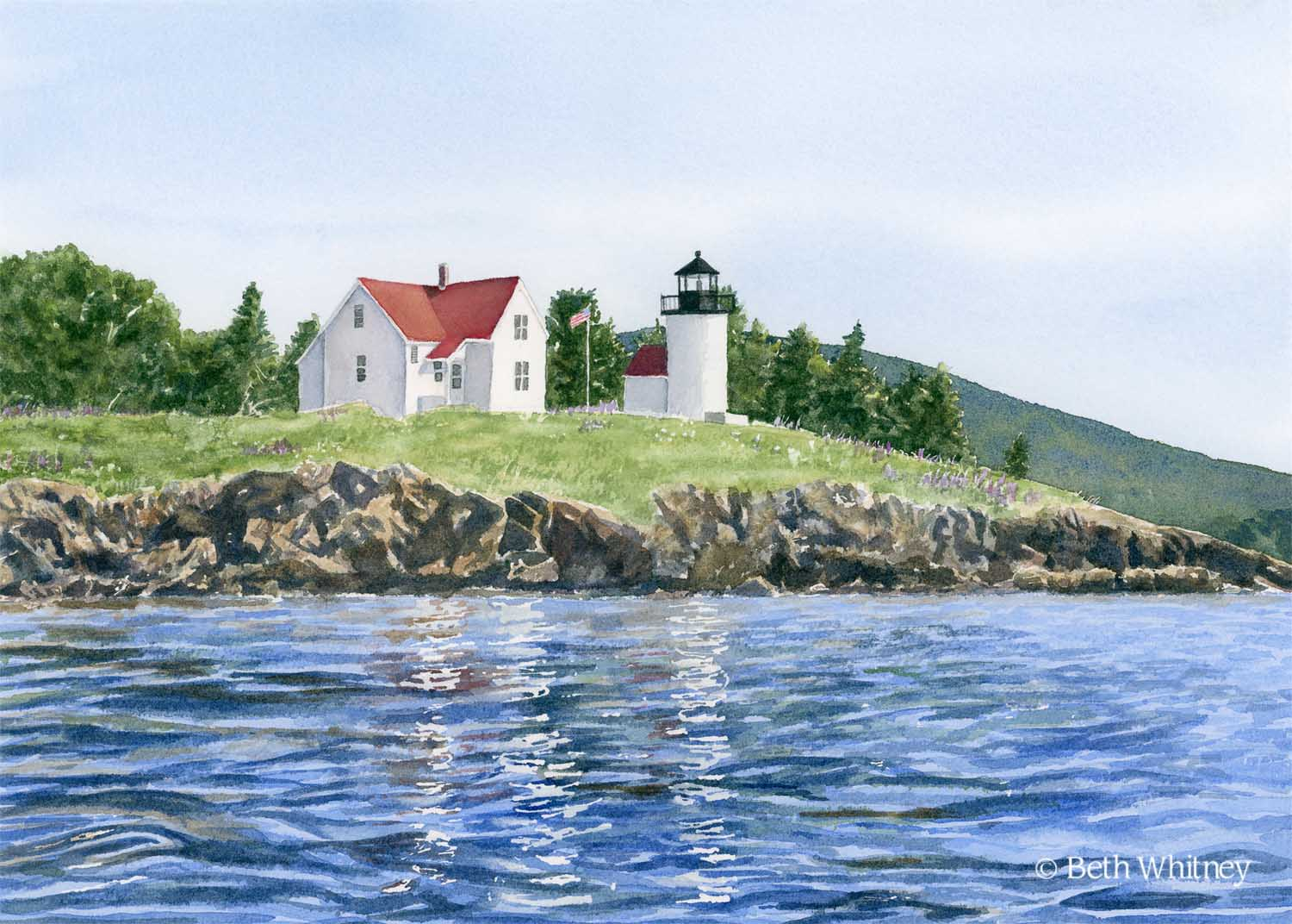 Watercolor painting of Curtis Island Lighthouse by Beth Whitney | Downeast Watercolors