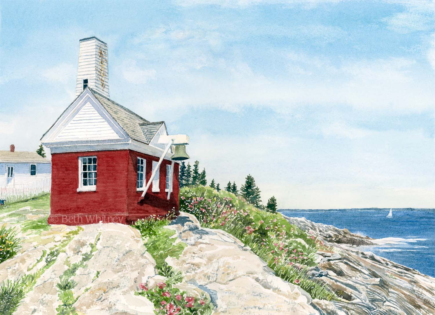 Watercolor painting of Pemaquid Fog House & Bell Tower, ocean, rocks by Beth Whitney