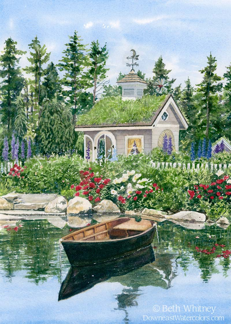Children's Garden with playhouse, pond, and rowboat
