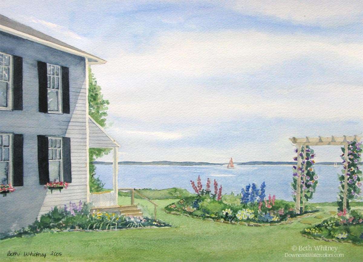Original painting of Journey's End, a gray house with seaside garden by Beth Whitney | DowneastWatercolors.com
