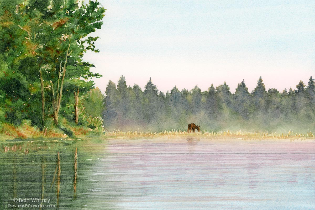 Painting of a moose grazing in a pond in Maine.