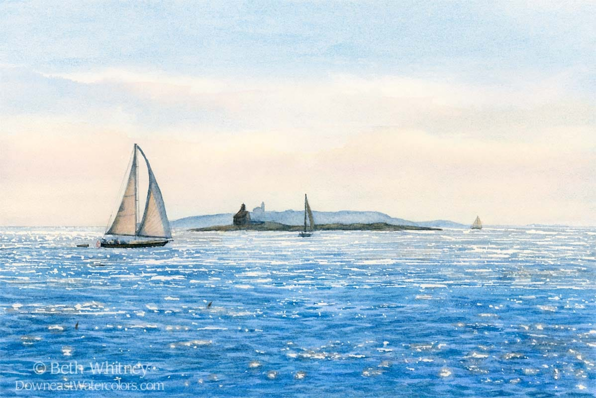 Painting of sailboats and sparkly blue ocean at sunset in Maine.