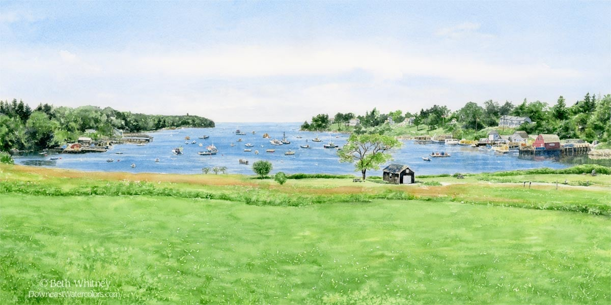 Green field and blue harbor with boats.