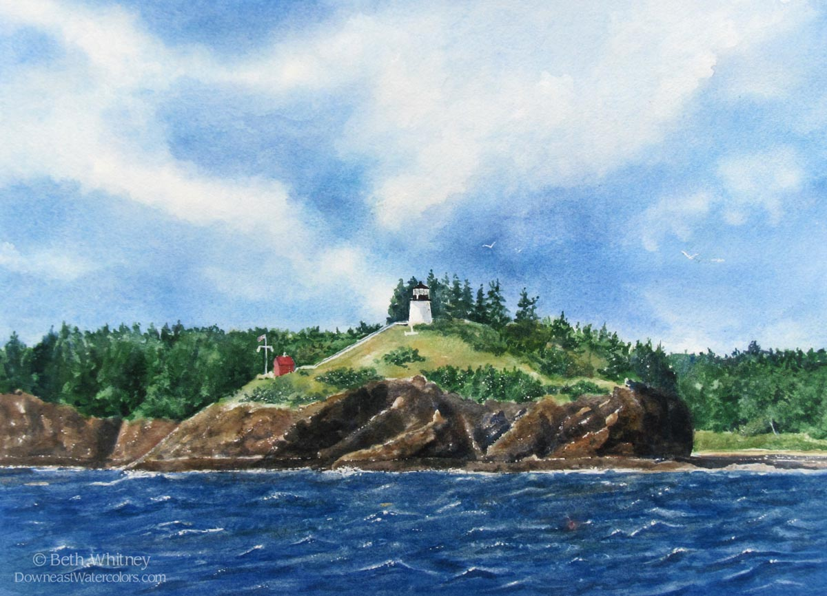 Original watercolor painting of Owls Head in Rockland Harbor, Maine by artist Beth Whitney   DowneastWatercolors.com