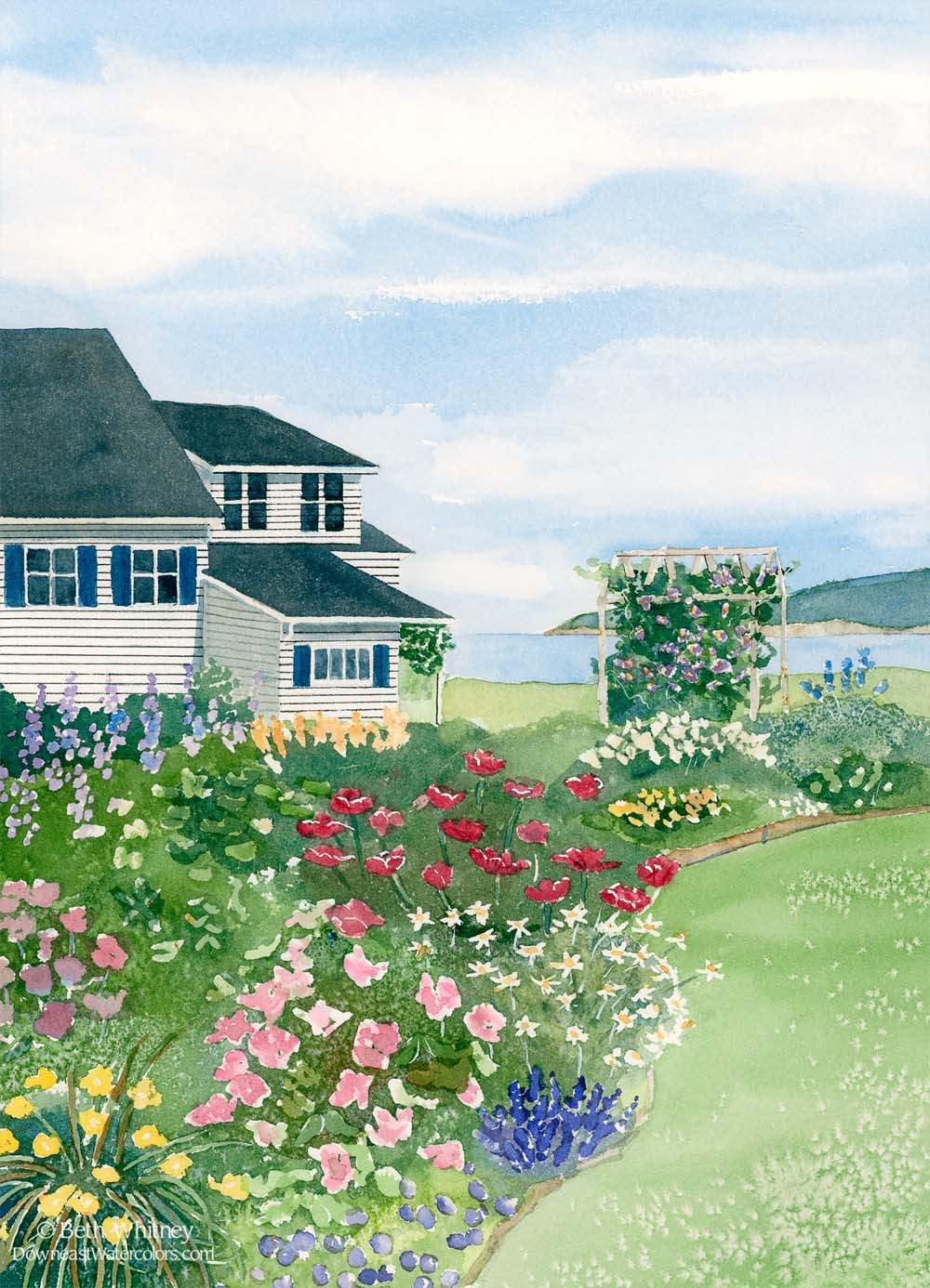 Original painting by Beth Whitney of a white cottage with perennial garden and arbor overlooking the sea. | DowneastWatercolors.com