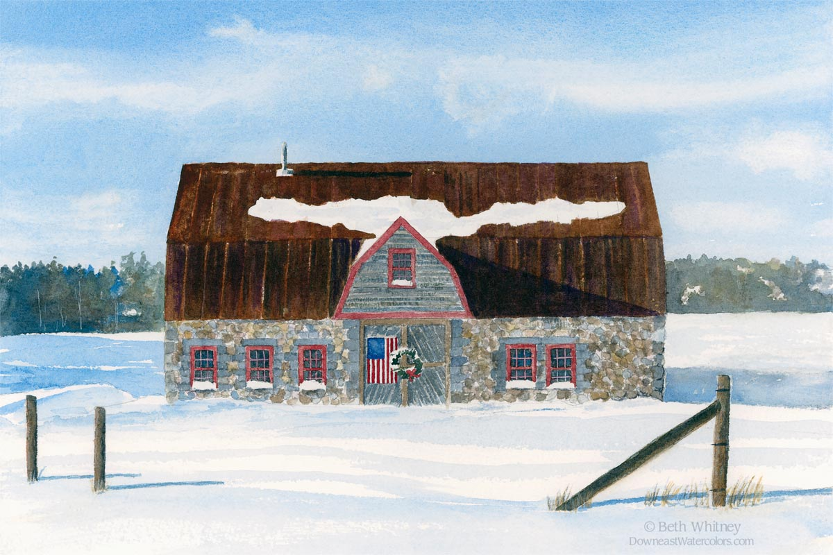 Winter painting of the historic stone barn in Salsbury Cove, MDI, Maine by artist Beth Whitney   DowneastWatercolors.com