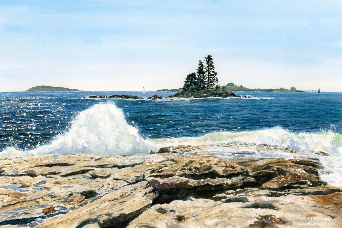 Waves crash against the rocks at Ocean Point in East Boothbay,Maine. Painting by Beth Whitney.