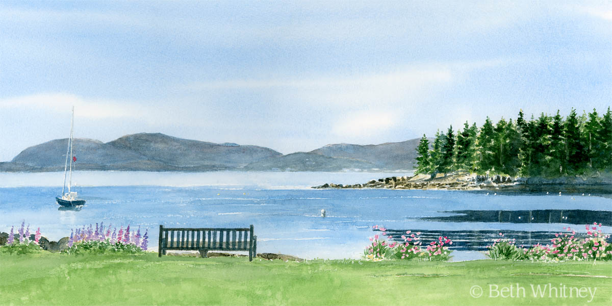 """""""Acadia Morning,"""" an original Maine seascape painting by Beth Whitney   DowneastWatercolors.com"""
