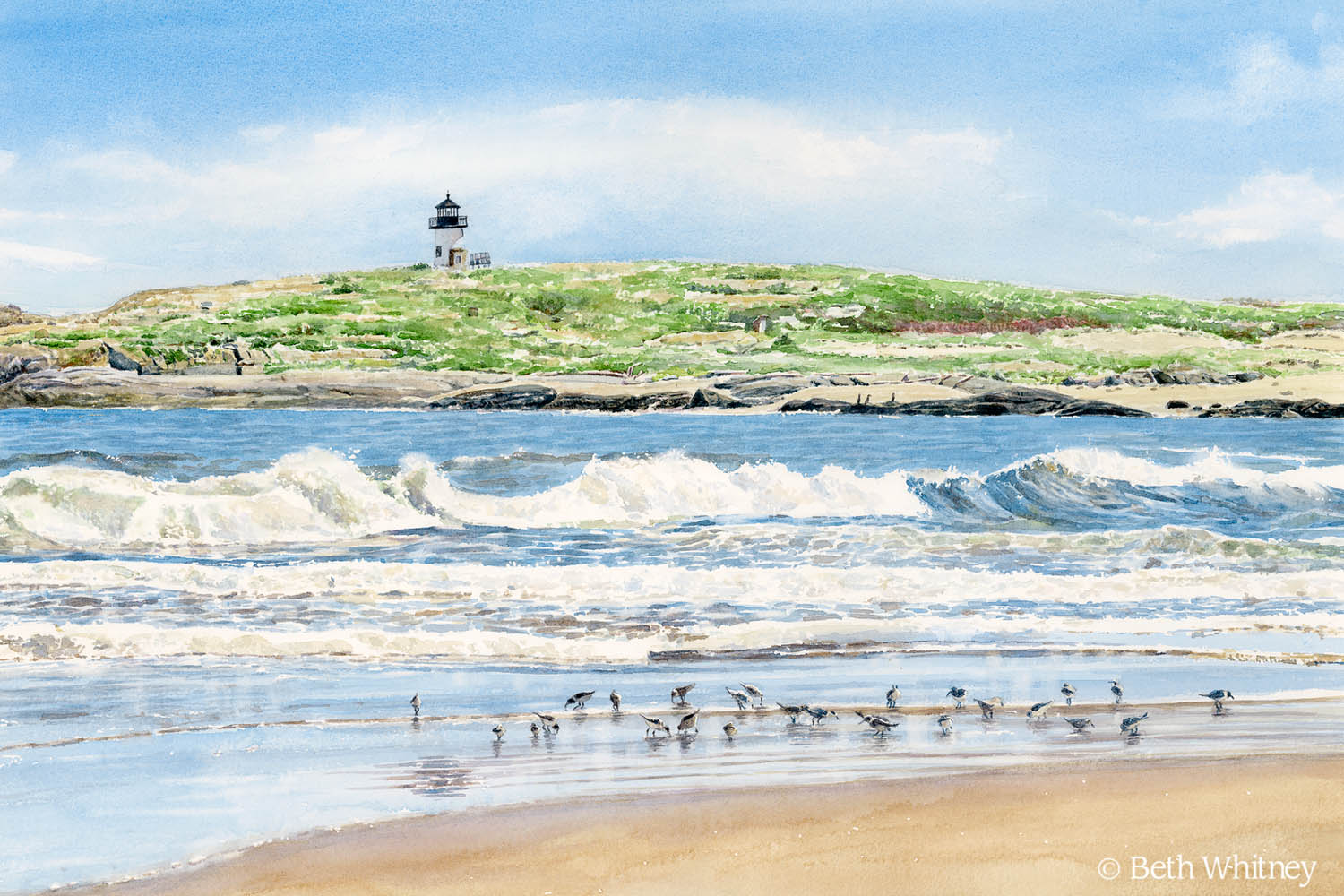Watercolor painting of Pond Island Light by Maine artist Beth Whitney