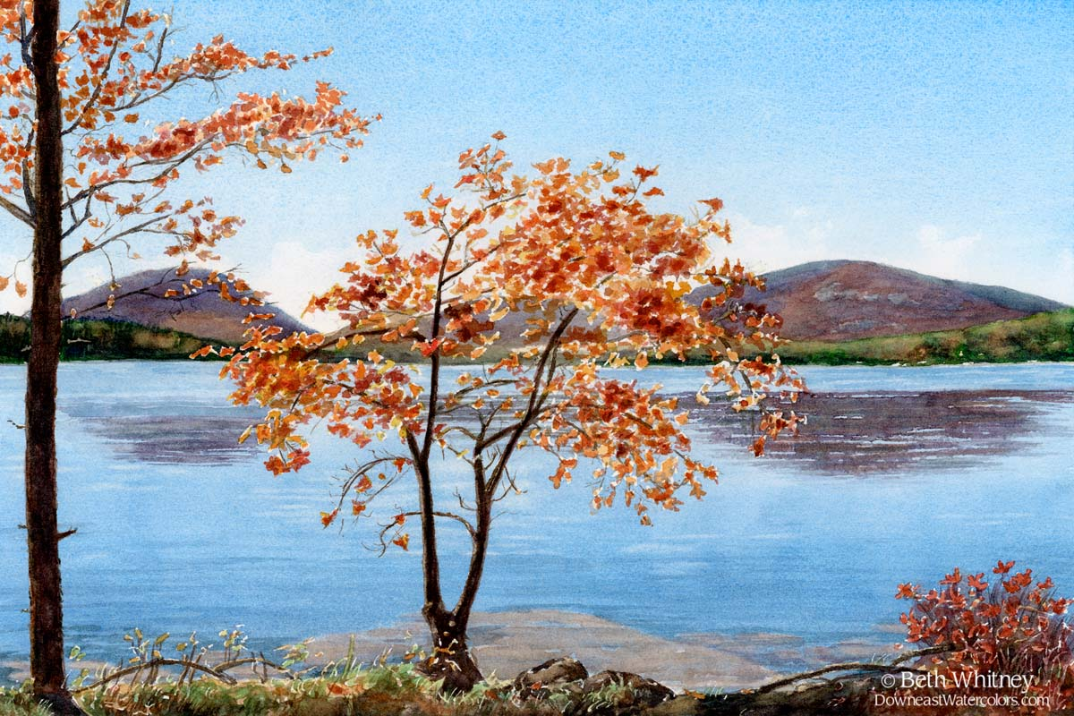 Watercolor painting of orange maple tree with Eagle Lake in Acadia behind.
