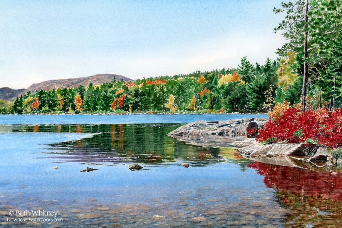 Painting of Eagle Lake, Acadia by Beth Whitney with colorful fall foliage.